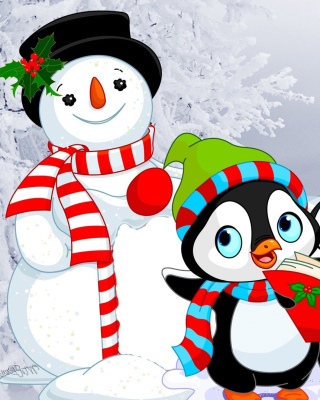 Snowman and Penguin Toys Background for Nokia Asha 306