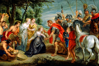 Kostenloses Rubens David Meeting Abigail Painting in Getty Museum Wallpaper für Android, iPhone und iPad