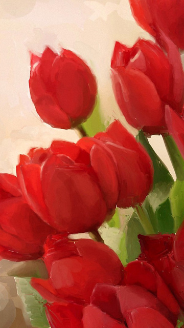 Fondo de pantalla Art Red Tulips 360x640