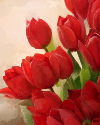 Art Red Tulips Wallpaper for Nokia Asha 310