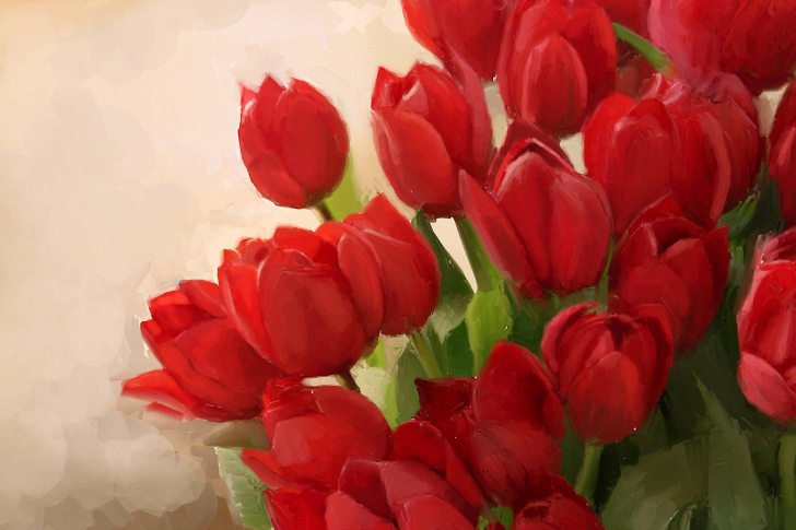 Art Red Tulips wallpaper