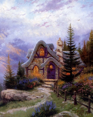 Thomas Kinkade, Sweetheart Cottage Picture for Nokia Asha 311