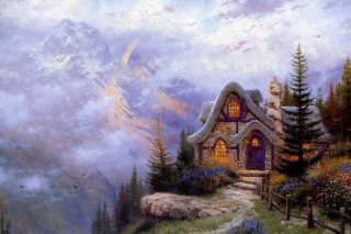 Kostenloses Thomas Kinkade, Sweetheart Cottage Wallpaper für Android, iPhone und iPad