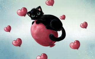 Free Black Cat O Heart Picture for Android, iPhone and iPad