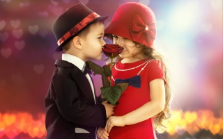 Cute Kids Couple With Rose Background for Android, iPhone and iPad