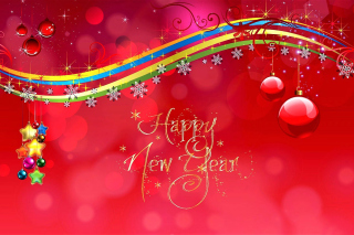 Happy New Year Red Design Picture for Android, iPhone and iPad