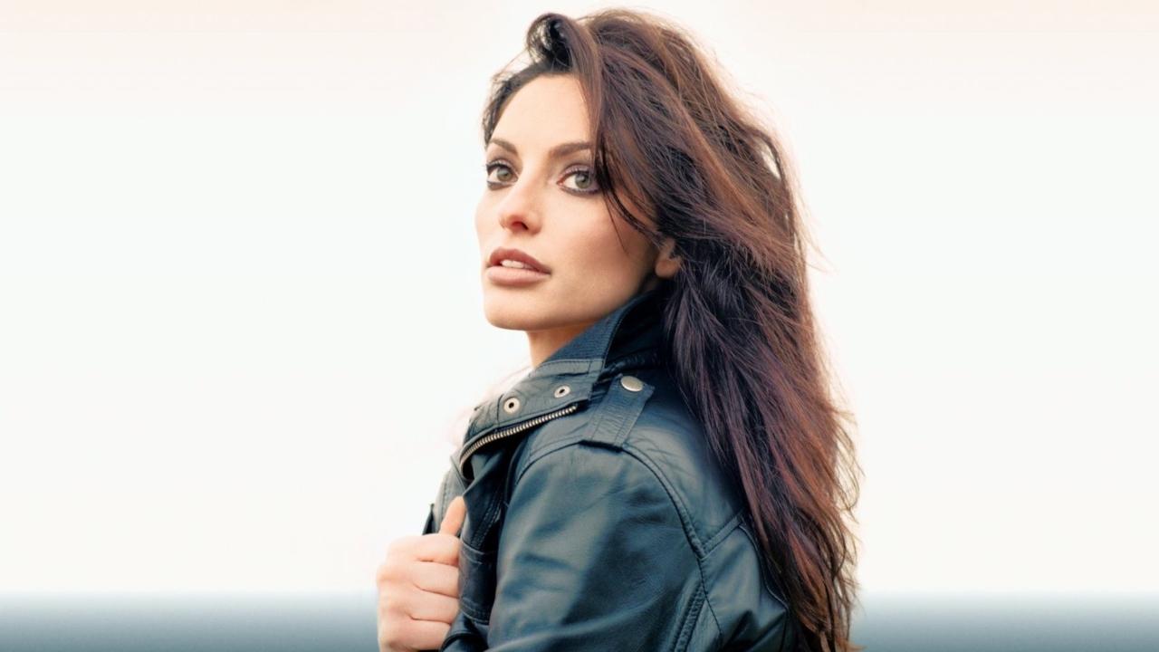 Beautiful Brunette Wearing Black Leather Jacket