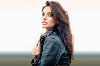 Beautiful Brunette Wearing Black Leather Jacket Background for Android, iPhone and iPad