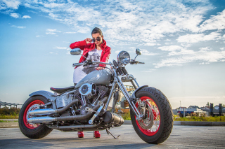 Harley Davidson with Cute Girl Wallpaper for Android, iPhone and iPad