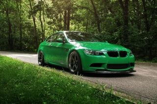 Green BMW Coupe Background for Android, iPhone and iPad