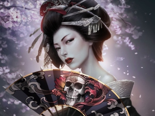 Japanese Geisha Background for Android, iPhone and iPad