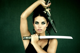 Warrior girl with swords Background for Android, iPhone and iPad
