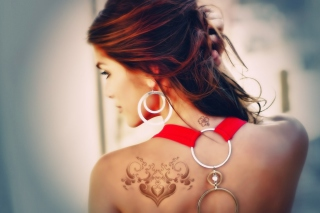 Girl With Tattoo On Her Back Background for Android, iPhone and iPad