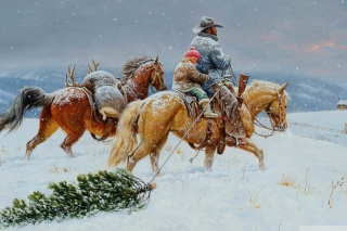 Kostenloses Getting Ready For Christmas Painting Wallpaper für Android, iPhone und iPad