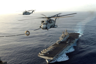 Aircraft Carrier And Helicopter Wallpaper for Android, iPhone and iPad