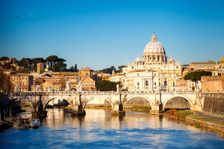 Ponte Sant Angelo in Rome Background for Android, iPhone and iPad
