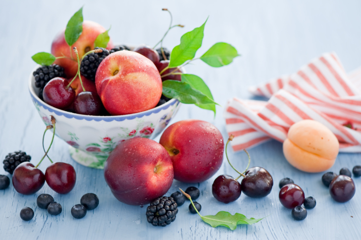 Plate Of Fruit And Berries wallpaper
