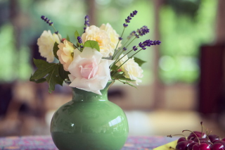 Tender Bouquet In Green Vase Background for Android, iPhone and iPad