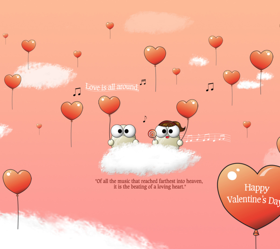Saint Valentines Day Music wallpaper 1080x960