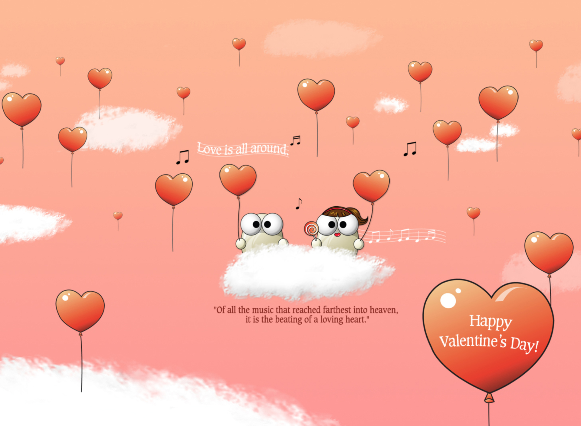Saint Valentines Day Music wallpaper 1920x1408