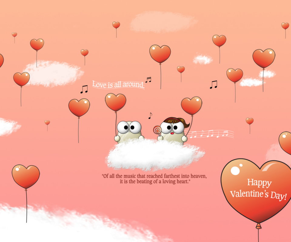 Saint Valentines Day Music wallpaper 960x800