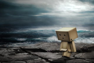 Danbo On Ocean Coast Background for Android, iPhone and iPad