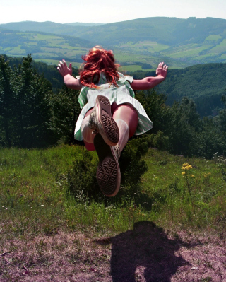Girl Jumping And Flying Background for 240x320