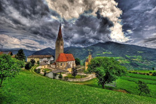 Church in Italian Town Wallpaper for Android, iPhone and iPad