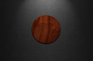 Wooden Apple Logo Background for Android, iPhone and iPad