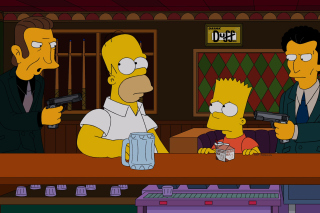 The Simpsons in Bar Wallpaper for Android, iPhone and iPad