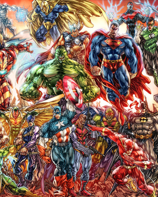 DC Universe and Marvel Comics papel de parede para celular para 128x160