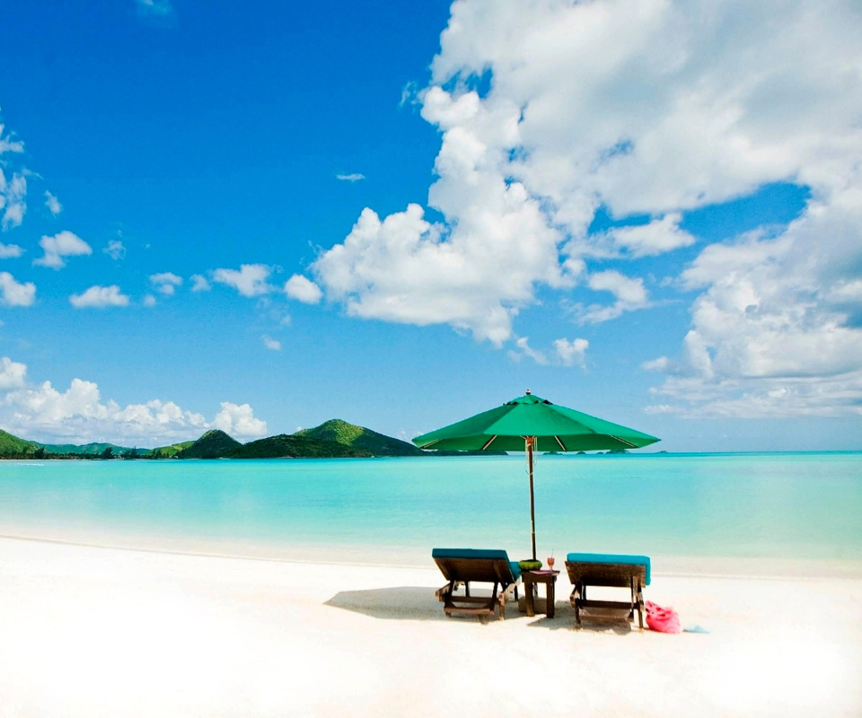 Tropical Paradise White Beach wallpaper 960x800
