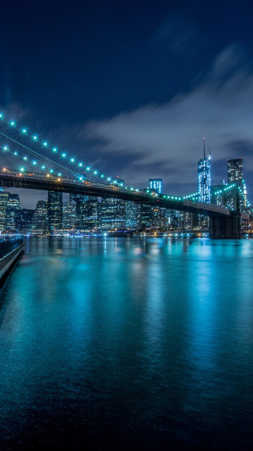Sfondi Cable Brooklyn Bridge in New York 360x640