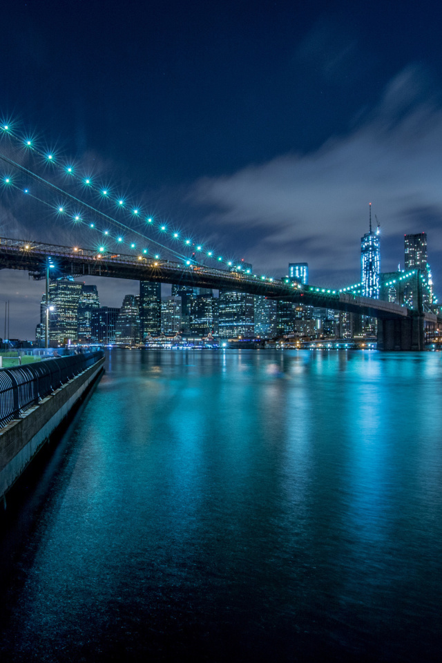 Screenshot №1 pro téma Cable Brooklyn Bridge in New York 640x960
