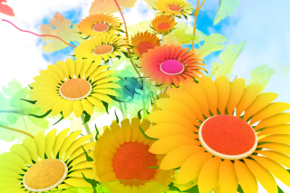 Drawn Daisies Background for Android, iPhone and iPad