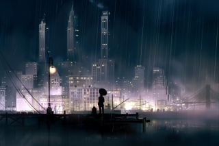 Rainy City Background for Android, iPhone and iPad