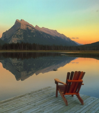 Wooden Chair With Pieceful Lake View - Obrázkek zdarma pro Nokia C-Series
