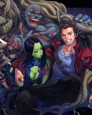 Strange Tales with Gamora and Drax the Destroyer - Obrázkek zdarma pro Nokia 300 Asha