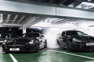 Mercedes in Garage Picture for Android, iPhone and iPad