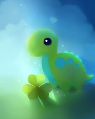 Cute Green Dino Background for Nokia C2-00