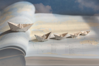 Paper Ships Wallpaper for Android, iPhone and iPad