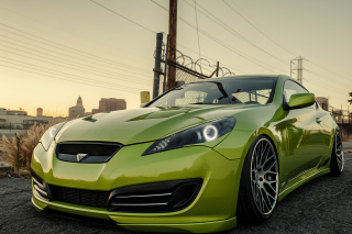 Stanced Hyundai Genesis Coupe Wallpaper for Android, iPhone and iPad