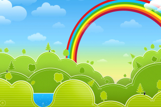 Rainbow And Woods Wallpaper for Android, iPhone and iPad