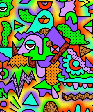 Crazy Neon Heads Picture for 480x800