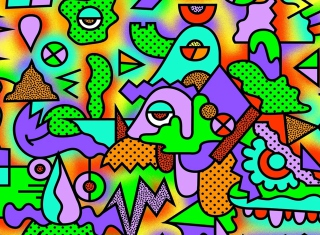 Crazy Neon Heads Background for Android, iPhone and iPad