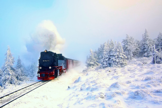 Winter Train Ride Wallpaper for Android, iPhone and iPad