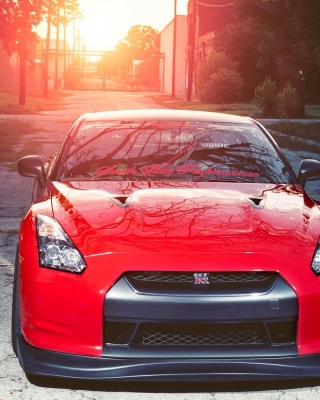 Red Nissan GTR Japanese Sport Car Background for Nokia C2-01