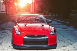Free Red Nissan GTR Japanese Sport Car Picture for Android, iPhone and iPad