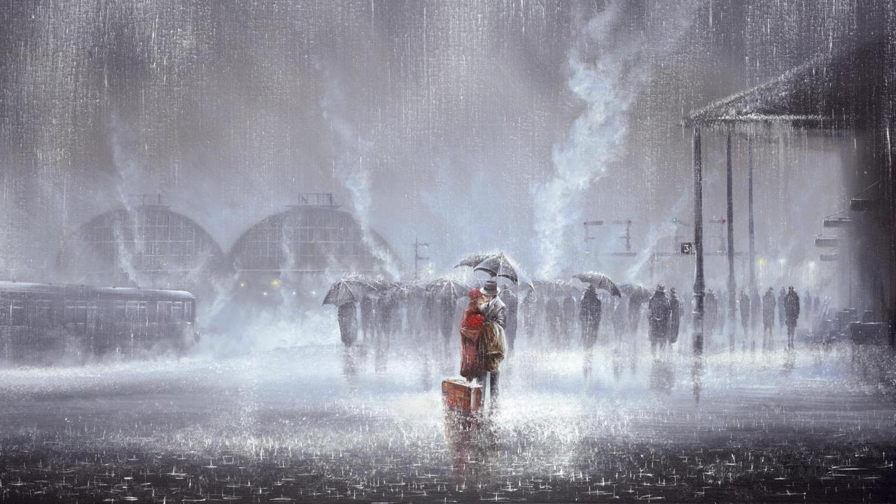 Couple Under Umbrella Painting