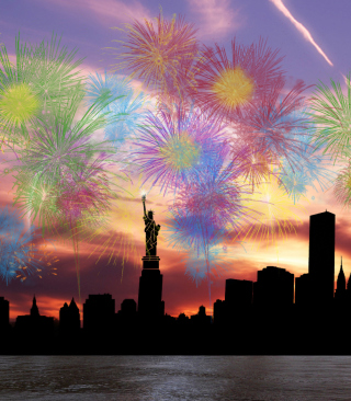 Fireworks Above Statue Of Liberty Background for HTC Titan